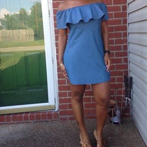 Blue / chambray off the shoulder dress